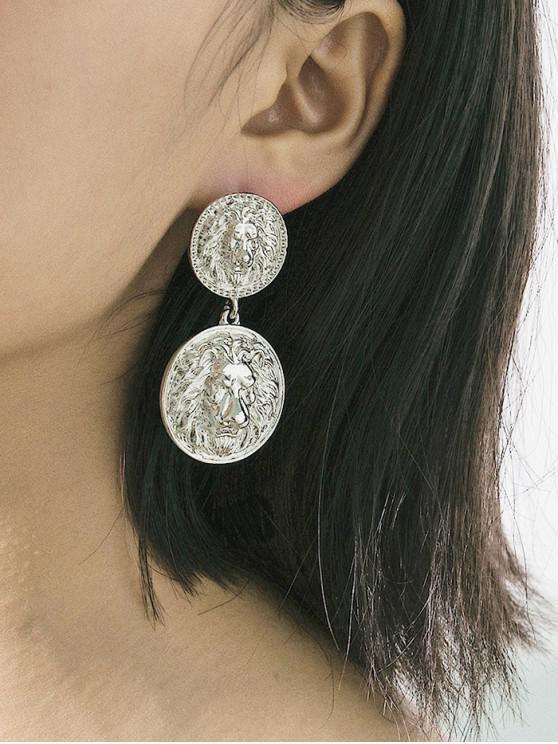 best Lion Head Engraved Disc Dangle Earrings - SILVER