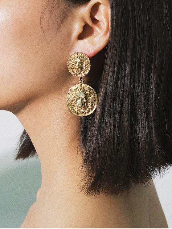 new Lion Head Engraved Disc Dangle Earrings - GOLD