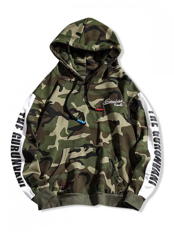 shops Camouflage Letter Contrast Color Splicing Hoodie - FERN GREEN 4XL