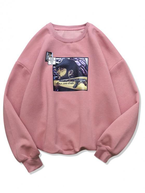 ハンサムな男性グラフィックカジュアルフリーススウェットシャツ - ピンク M