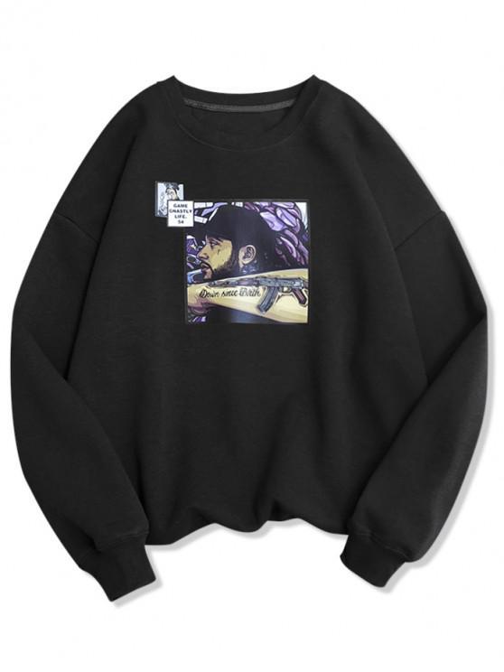 latest Handsome Men Graphic Casual Fleece Sweatshirt - BLACK 4XL