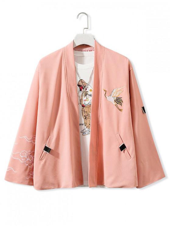 Mosca de grúa bordado frente abierto Kimono Chaqueta - Rosado M