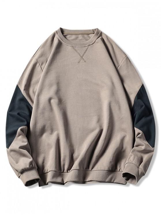 women Colorblock Splicing Crew Neck Basic Sweatshirt - KHAKI L
