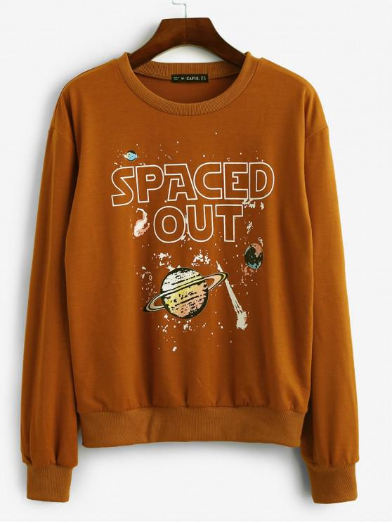 shops ZAFUL SPACED OUT Planet Graphic Casual Sweatshirt - BROWN L
