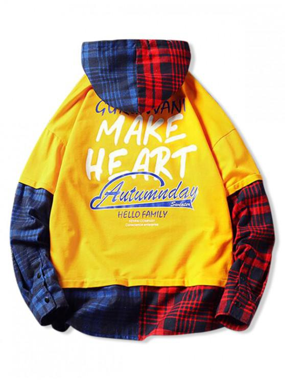 best Plaid Contrast Color Splicing Letter Graphic Hoodie - RUBBER DUCKY YELLOW 2XL