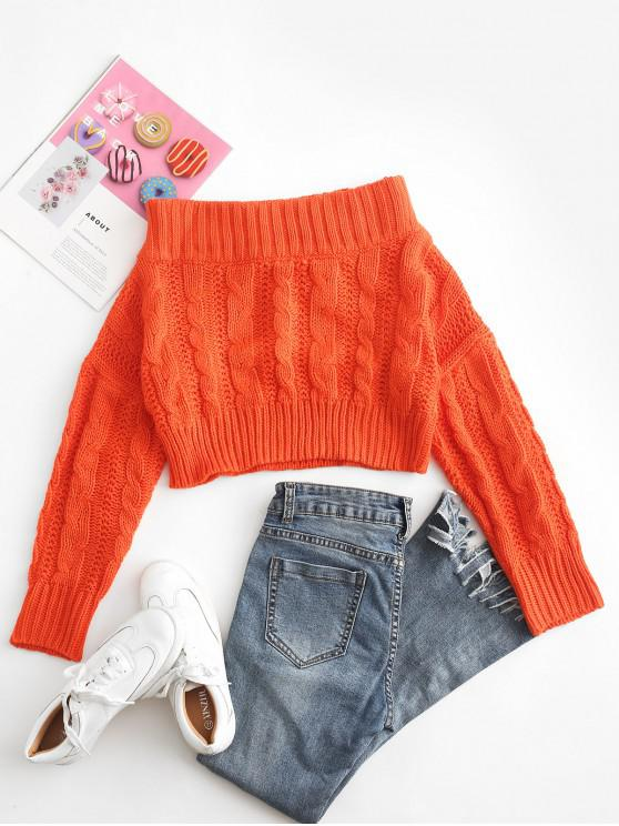 shop Chunky Cable Knit Off Shoulder Sweater - ORANGE ONE SIZE