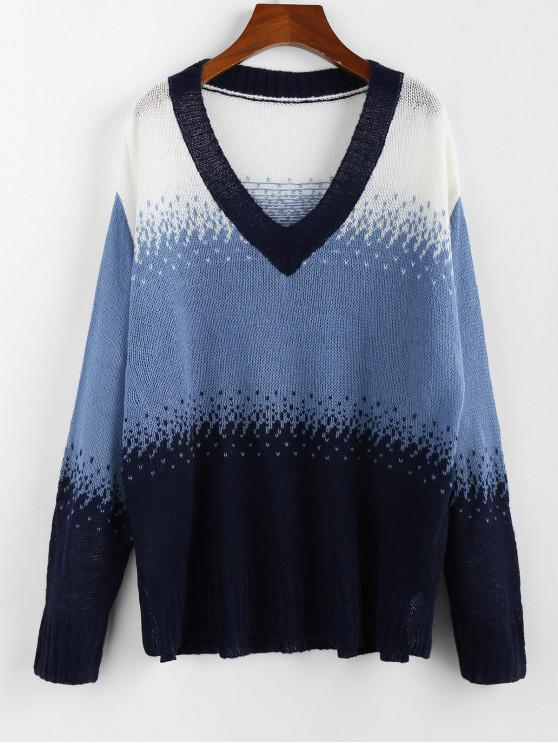 unique ZAFUL Color-blocking Plunge Drop Shoulder Sweater - MULTI M