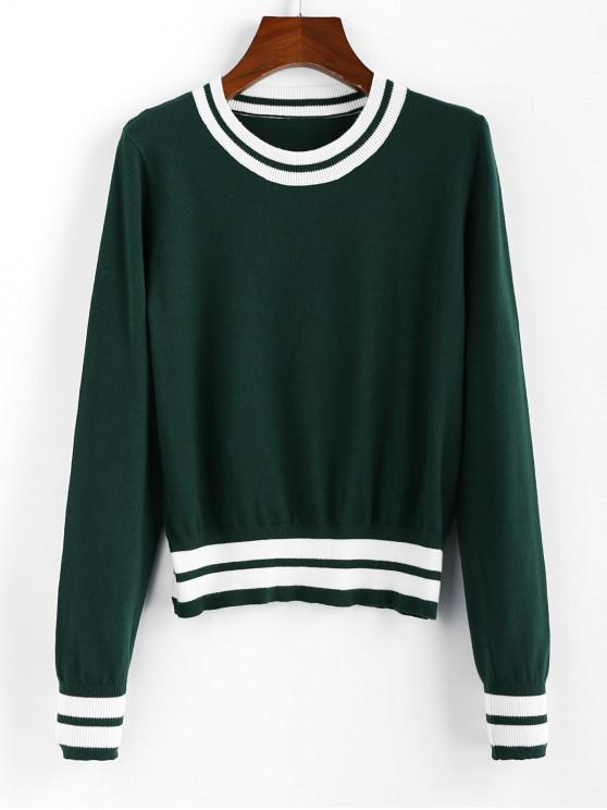 shop ZAFUL Cricket Knit Contrast Striped Sweater - MEDIUM SEA GREEN M
