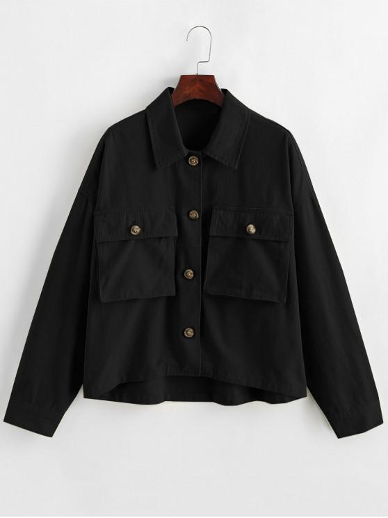 affordable ZAFUL x Alexis Ricecakes Flap Pockets Button Up Shirt Jacket - BLACK XS