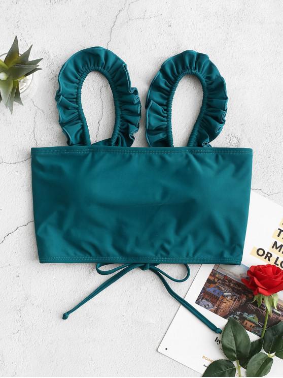 women ZAFUL Ruffle Lace Up Padded Swim Top - PEACOCK BLUE M