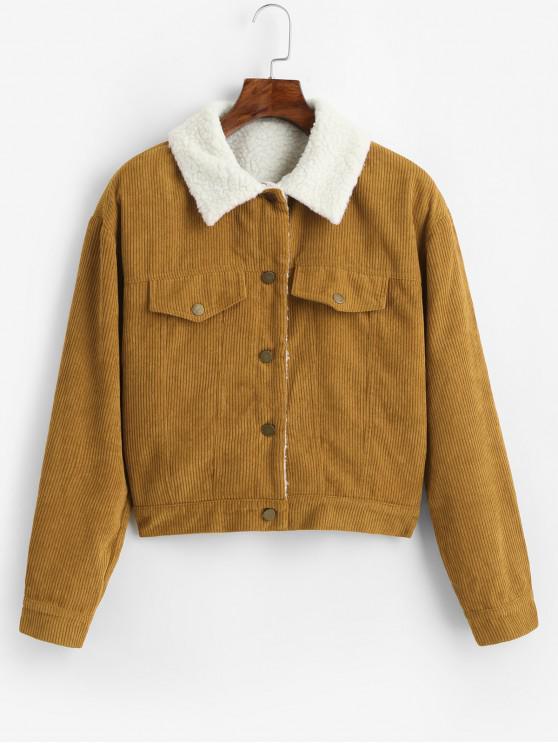 women's ZAFUL Fuzzy Corduroy Jacket - SUN YELLOW XL