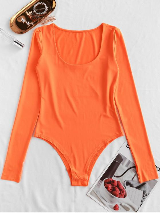 best Neon Scoop Neck Long Sleeve Bodysuit - ORANGE M