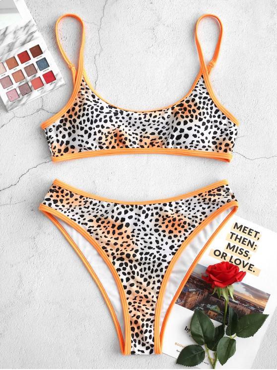 women ZAFUL Leopard High Leg Contrast Trim Bikini Swimsuit - MULTI-A S