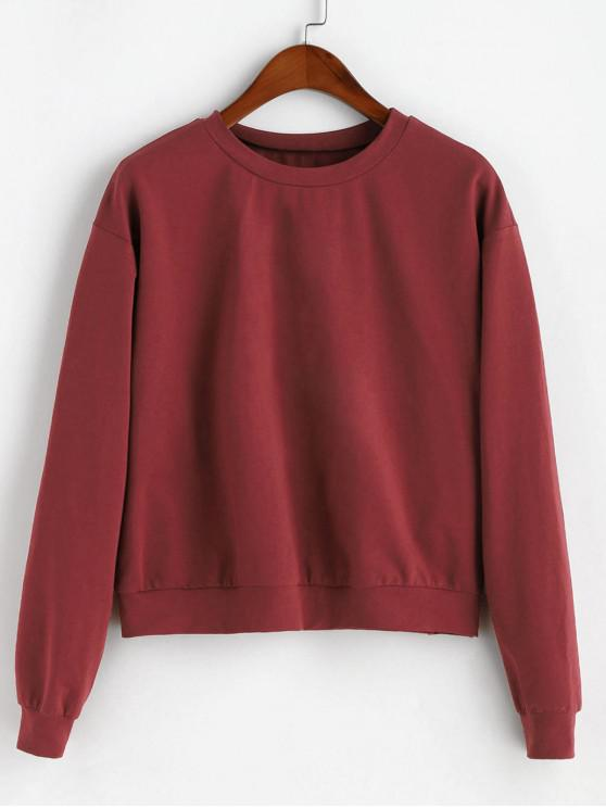 women ZAFUL Plain Basic Drop Shoulder Sweatshirt - FIREBRICK XL