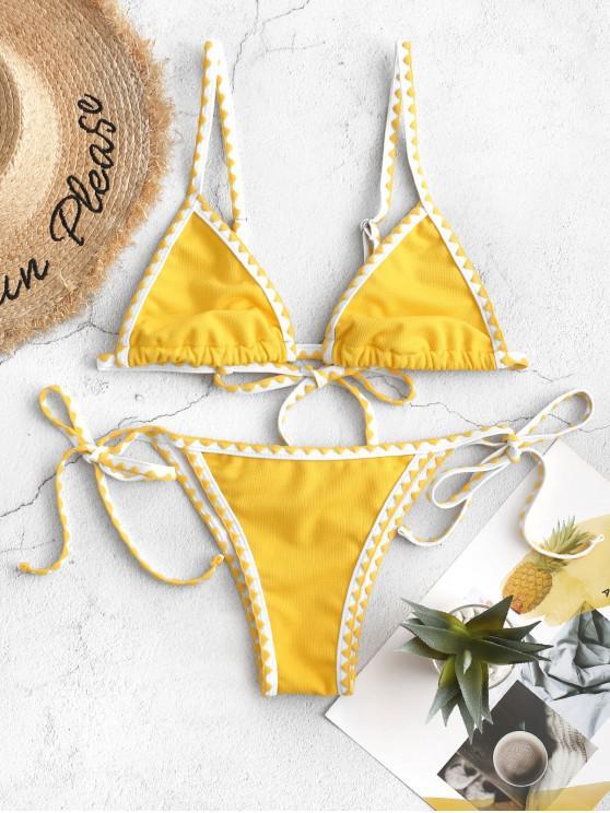 lady ZAFUL Textured Whip Stitch String Bikini Swimsuit - SAFFRON M