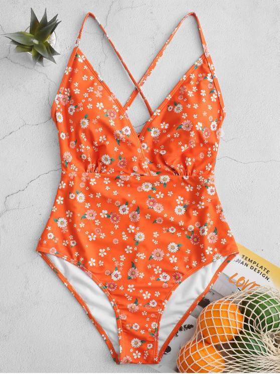 hot ZAFUL Ditsy Print Criss Cross One-piece Swimsuit - MULTI-A L