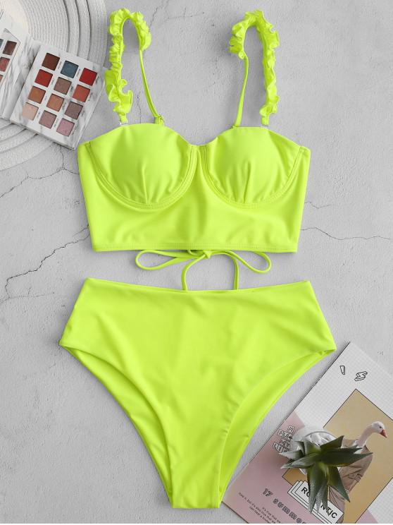 shops ZAFUL Lace Up Frilled Neon High Cut Tankini Swimsuit - CHARTREUSE L