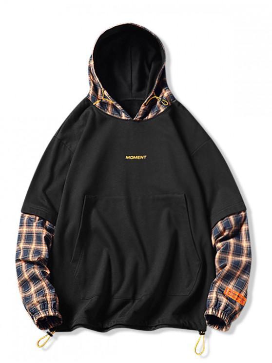 Plaid Splicing Faux Twinset Hip-Hop Hoodie - Schwarz XL