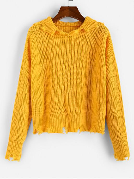 ladies ZAFUL Ripped Hooded Drop Shoulder Jumper Sweater - BEE YELLOW S