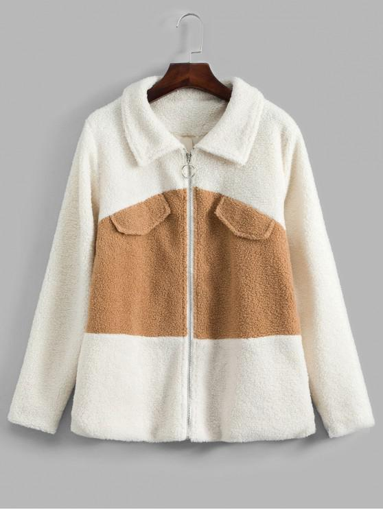 best Colorblock Zipper Teddy Coat - WHITE S