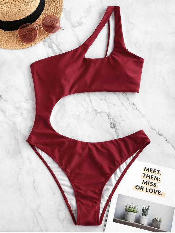 new ZAFUL Cutout One Shoulder One-piece Swimsuit - RED L