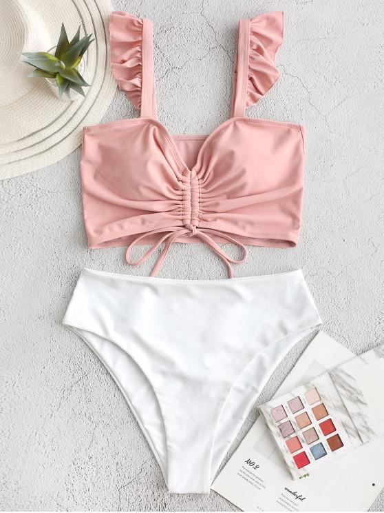 chic ZAFUL Cinched Colorblock Ruffle High Waisted Tankini Swimsuit - LIGHT PINK L