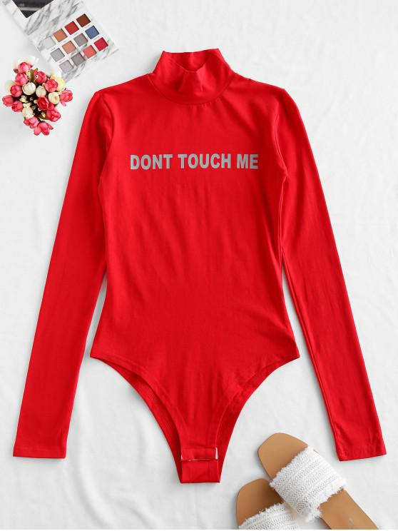 online Letter Graphic Mock Neck Long Sleeve Bodysuit - RED L
