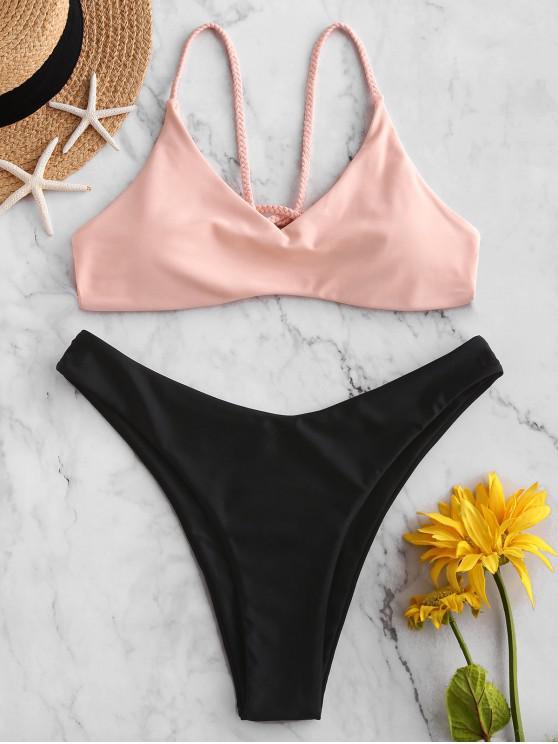 womens ZAFUL Braided Strappy High Leg Bikini Swimsuit - LIGHT PINK L