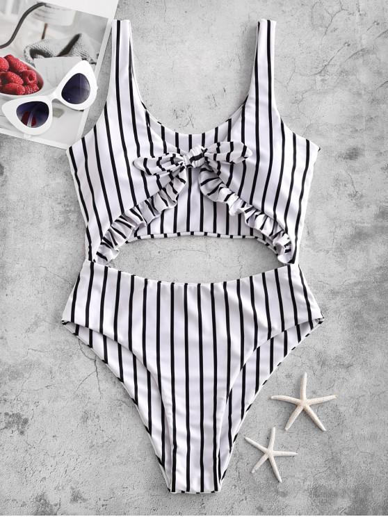affordable ZAFUL Striped Ruffle Tied Monokini Swimsuit - MULTI-A L