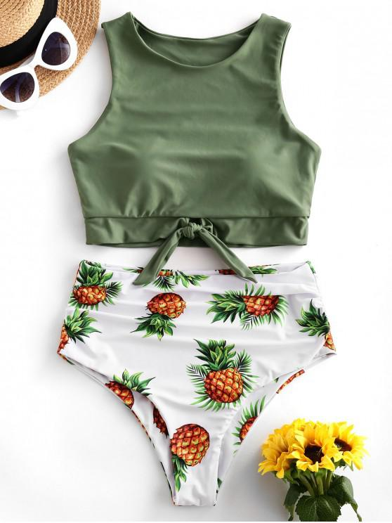 ZAFUL Ananas Print Nodul ruched Tankini Swimsuit - Camuflaj verde M