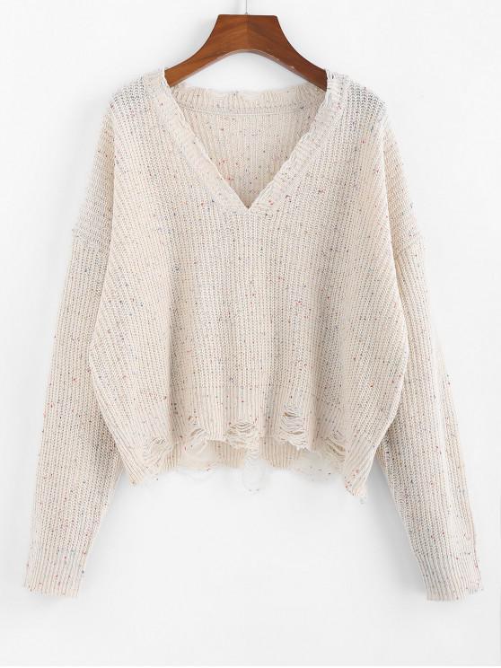 shop ZAFUL Confetti Drop Shoulder Distressed Sweater - WARM WHITE M