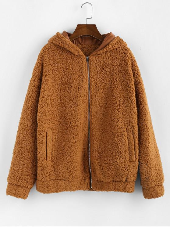 best ZAFUL Hooded Zip Up Pocket Fluffy Teddy Jacket - LIGHT BROWN L
