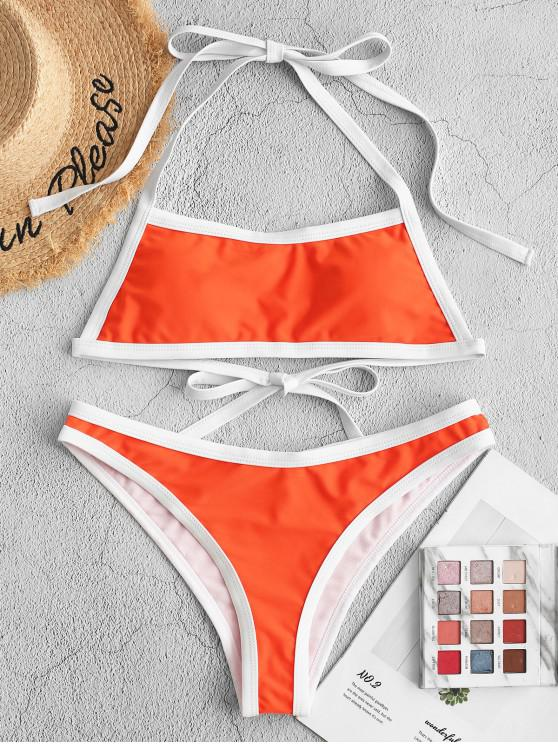 ladies ZAFUL Contrast Piping Halter Padded Bikini Swimsuit - MANGO ORANGE S