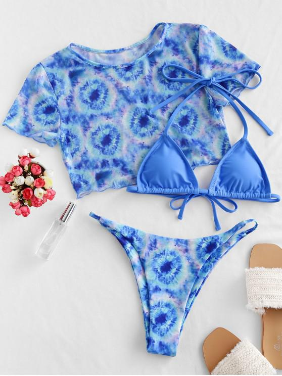 Pedaço ZAFUL malha Tie Dye Halter seqüência de três Bikini Swimsuit - Trapaceiro Azul S
