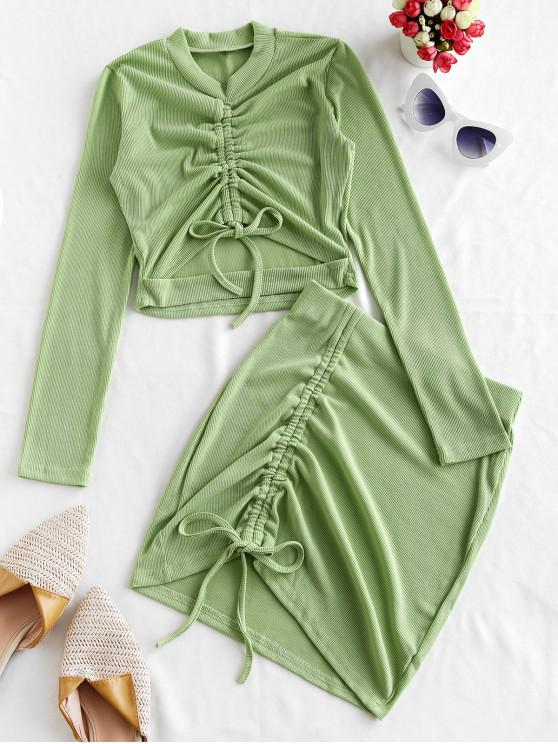 chic Rib-knit Cinched Mini Skirt Set - GREEN PEAS L