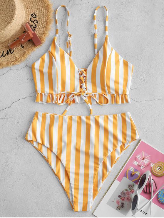 new ZAFUL Striped Lace Up Ruffle High Waisted Tankini Swimwear - RUBBER DUCKY YELLOW XL