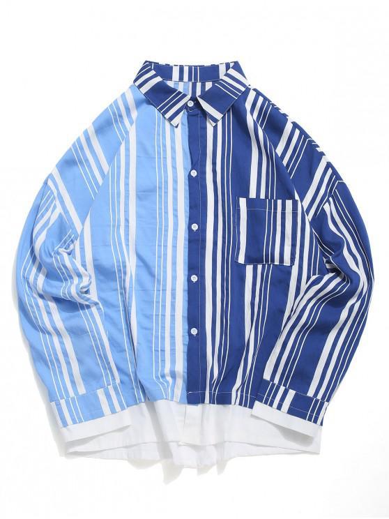Modello di colore impiombato a strisce lunghe maniche di camicia - Profondo blu M
