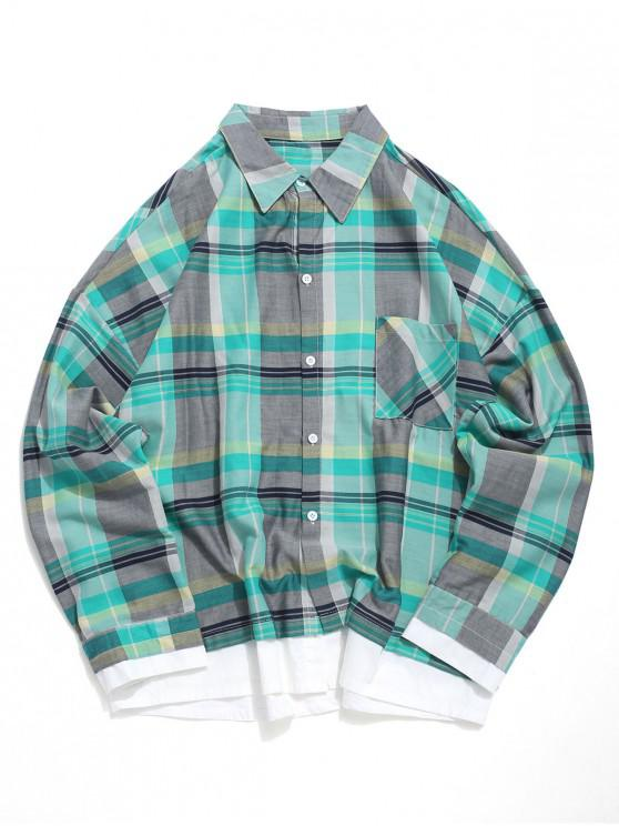 new Color Spliced Striped Pattern Long Sleeves Shirt - MACAW BLUE GREEN S