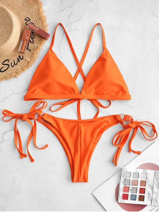 chic ZAFUL Criss Cross Padded String Bikini Swimsuit - ORANGE L