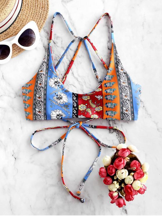fashion ZAFUL Bohemian Flower Paisley Strappy Bikini Top - MULTI-B M