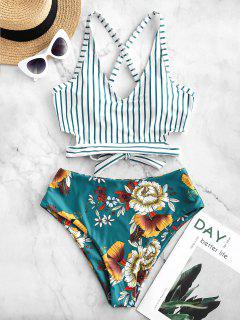 ZAFUL Crisscross Knot Floral Striped Tankini Swimsuit - Greenish Blue S