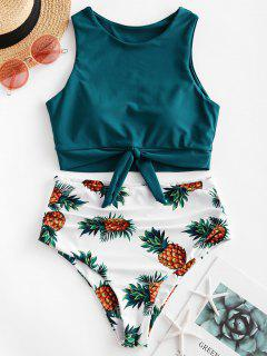 ZAFUL Pineapple Print Knot Ruched Tankini Swimsuit - Peacock Blue S