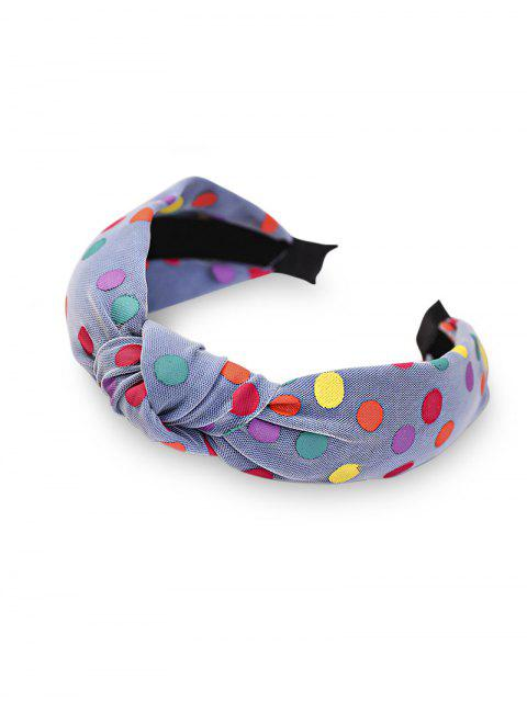 outfit Polka Dot Mesh Knot Wide Hairband - BLUE  Mobile