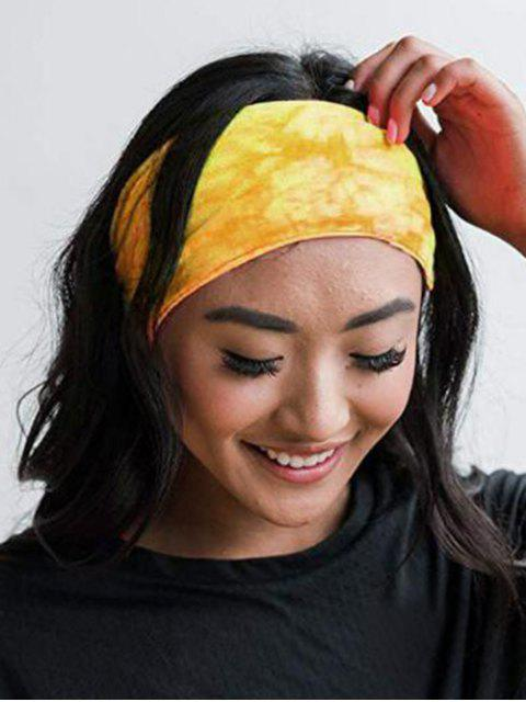 shop Tie Dyed Elastic Athletic Headband - YELLOW  Mobile