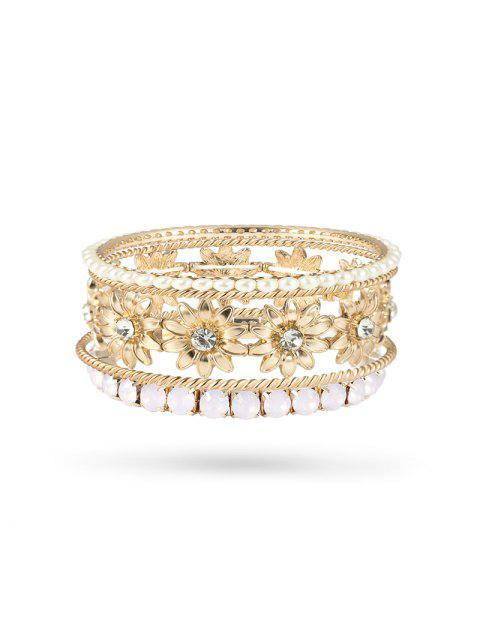 online 5 Piece Faux Pearl Rhinestone Floral Bangle Set - GOLD  Mobile
