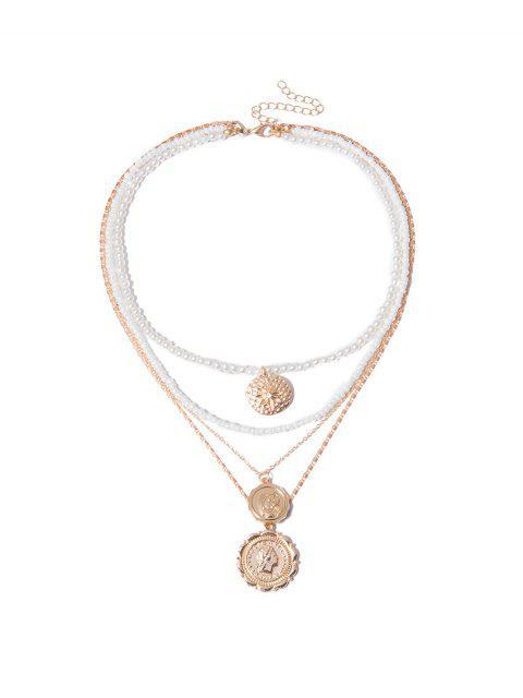 Collier Rond Superposé Pendant en Fasse Perle - Or  Mobile