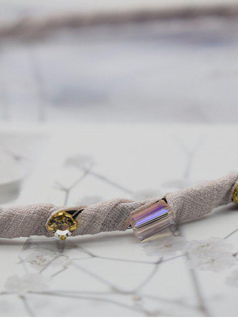 ladies Geometric Rhinestone Fabric Hairband - LIGHT PINK  Mobile