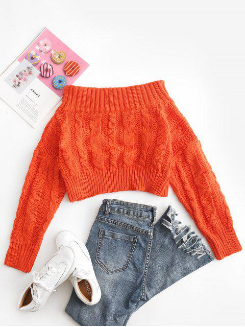 shop Chunky Cable Knit Off Shoulder Sweater - ORANGE ONE SIZE Mobile