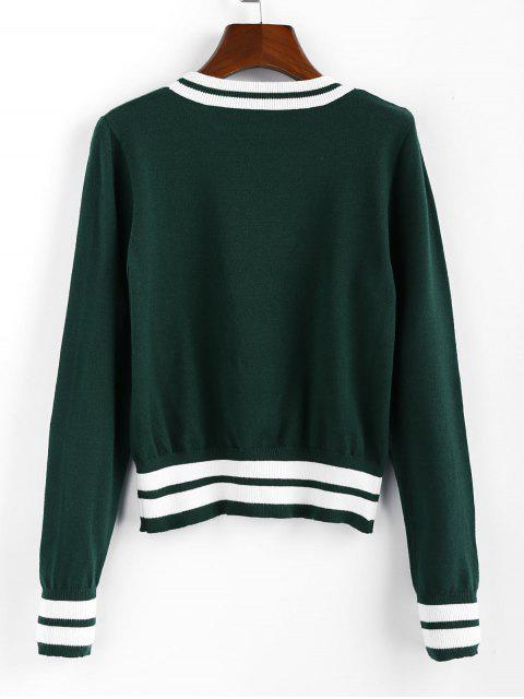 outfit ZAFUL Cricket Knit Contrast Striped Sweater - MEDIUM SEA GREEN S Mobile