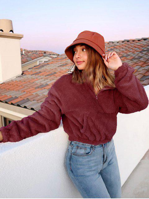 latest ZAFUL x Alexis Ricecakes Front Pocket Solid Crop Faux Fur Sweatshirt - RED WINE S Mobile